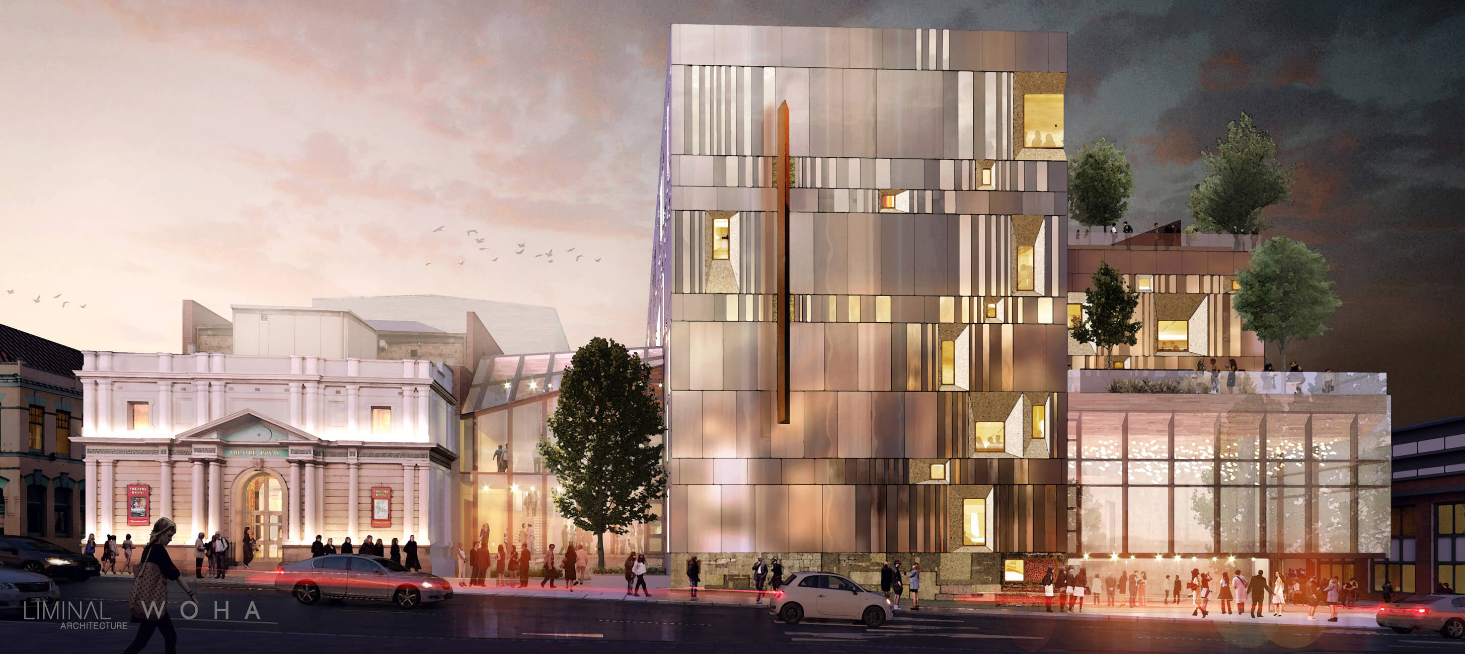 Architectural render of the Hedberg from Campbell Street (credits: Liminal Architecture and WOHA)