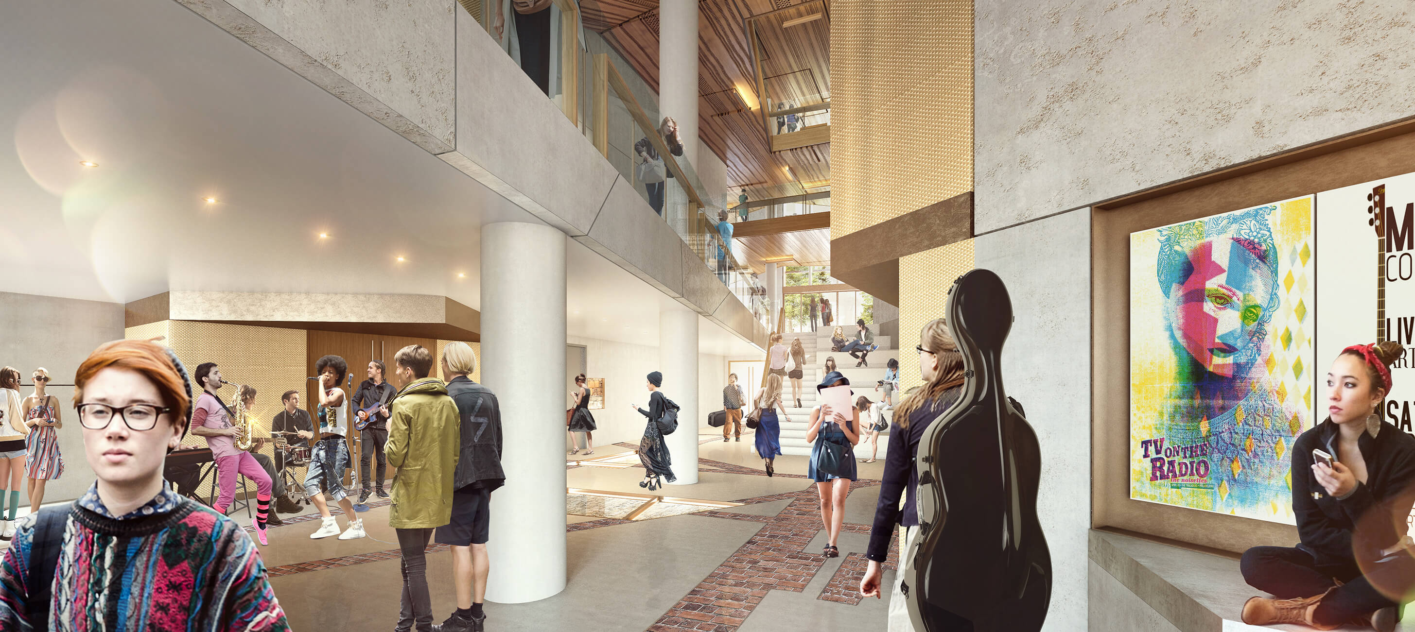 Architectural render of the Hedberg Foyer (credits: Liminal Architecture and WOHA)