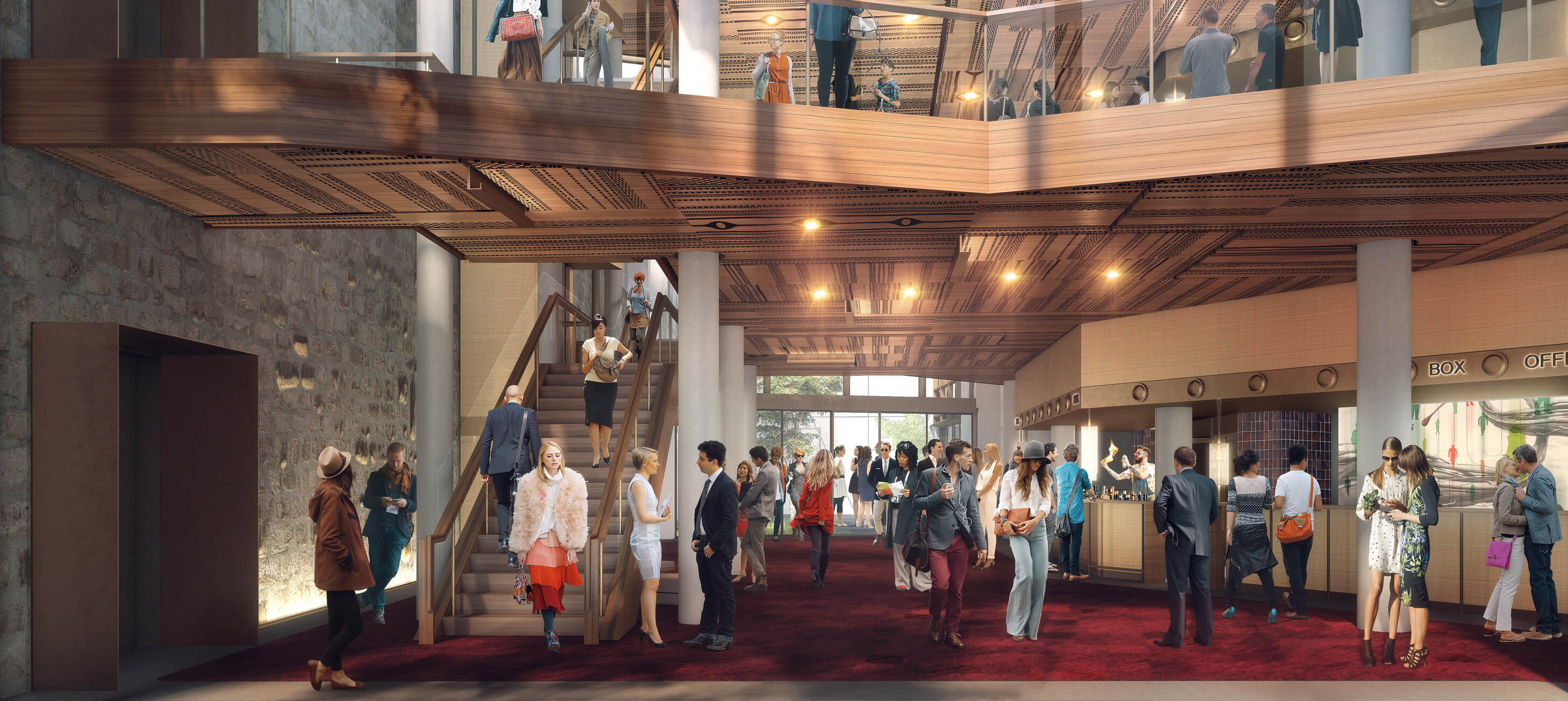 Architectural render of the Hedberg Atrium (credits: Liminal Architecture and WOHA)