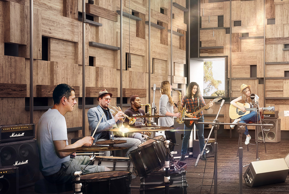 Architectural render of musicians playing in the new Salon at the Hedberg
