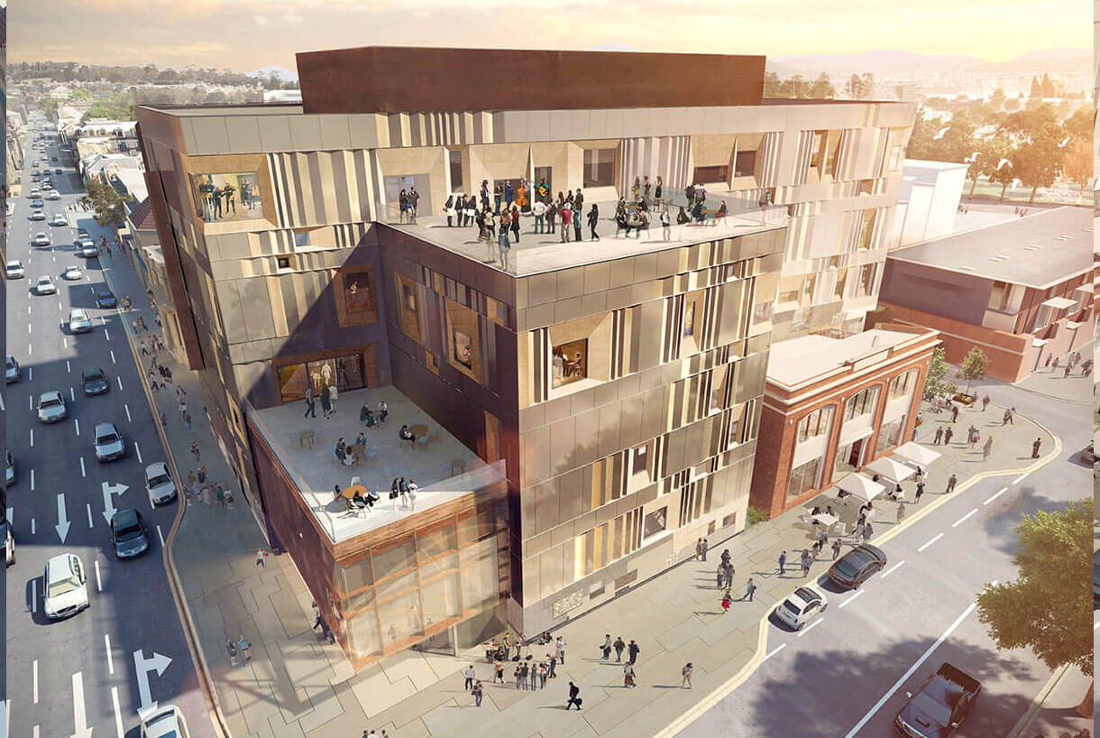 Architectural render of the Hedberg at night, from the corner of Collins and Campbell Streets (credits: Liminal Architecture and WOHA)