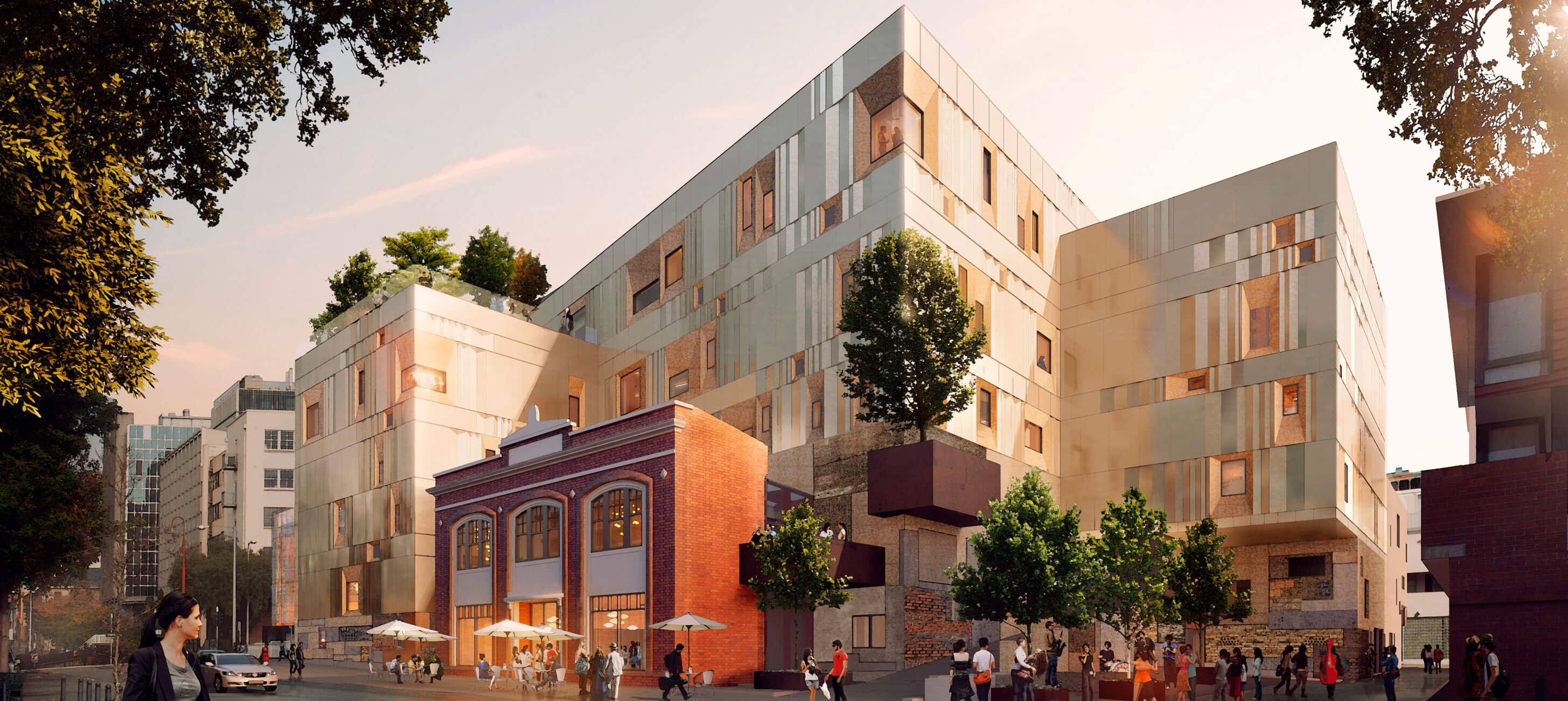 Architectural render of the Hedberg from Collins St (credits: Liminal Architecture and WOHA)