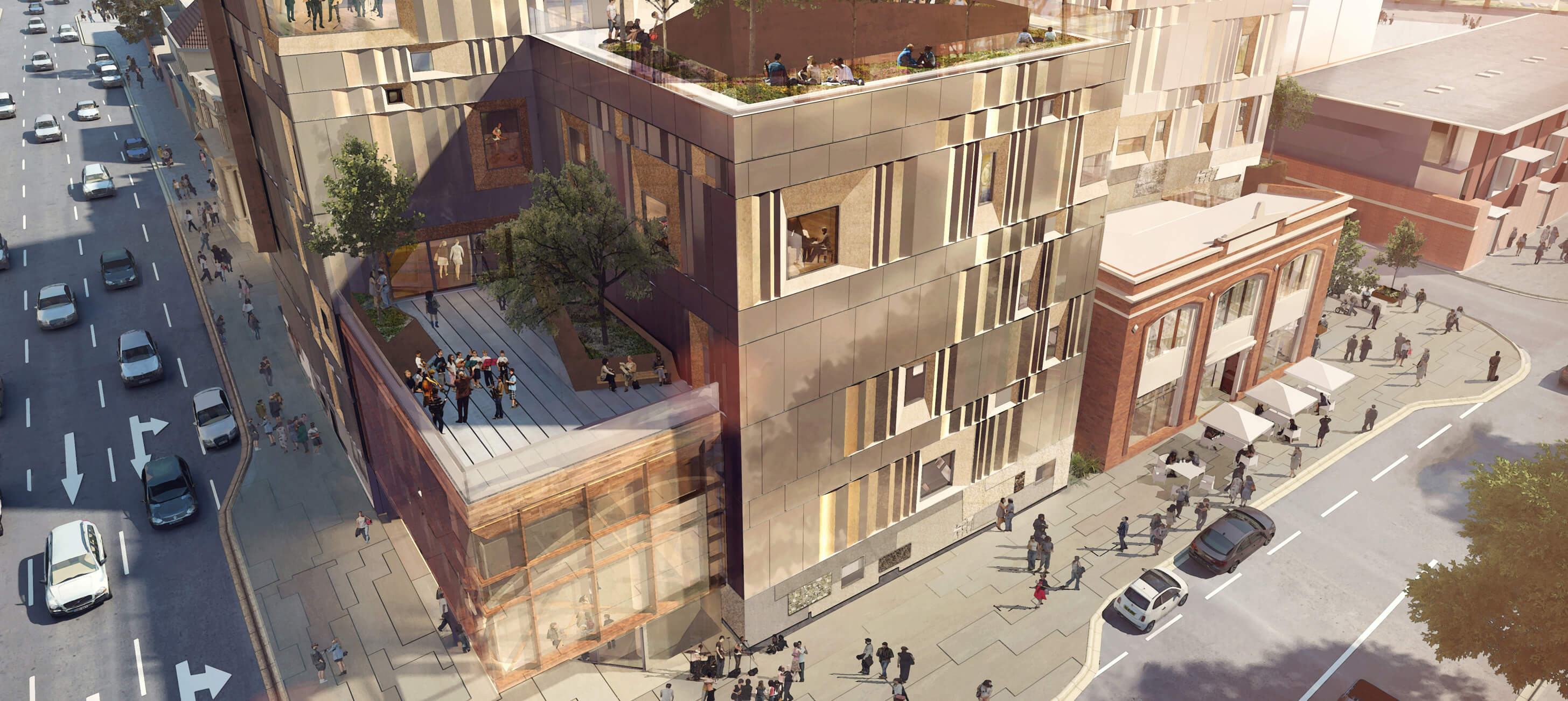 Architectural render of the Hedberg by day, from the corner of Collins and Campbell Streets (credits: Liminal Architecture and WOHA)